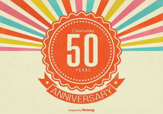 Retro Style 50th Anniversary Illustration - Free vector #338109