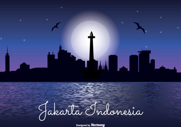 Jakarta Indonesia Night Skyline - vector #338159 gratis