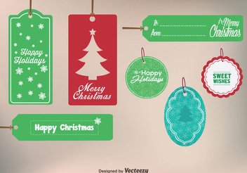 Retro Christmas Label Set - Free vector #338429