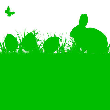 Easter Rabbit and Eggs with Grass - Free vector #339689