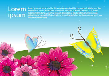 Flowers with Butterflies - Free vector #341059