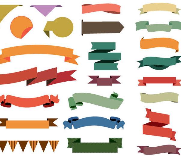 24 Colorful Ribbons - бесплатный vector #341149