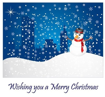 Snowy Christmas Greeting Card - Free vector #341239
