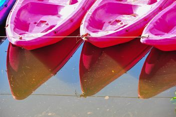 Pink kayaks in river - Free image #341279