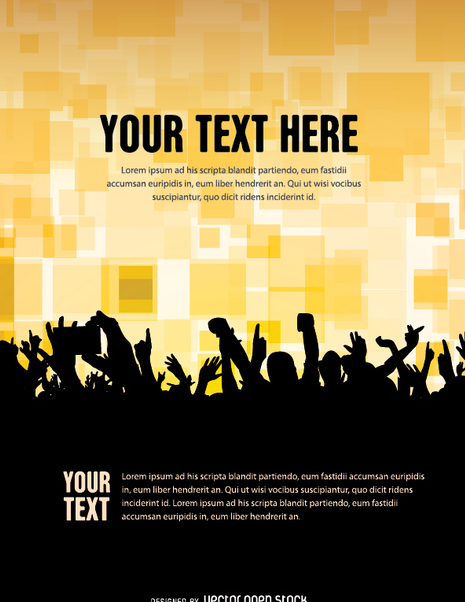 Concert Crowd poster template - бесплатный vector #341419