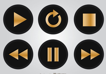 Black And Gold Media Player Buttons - Free vector #341709