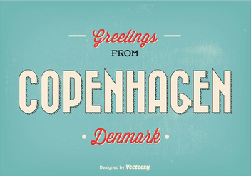 Retro Copenhagen Greeting Illustration - vector gratuit(e) #341929