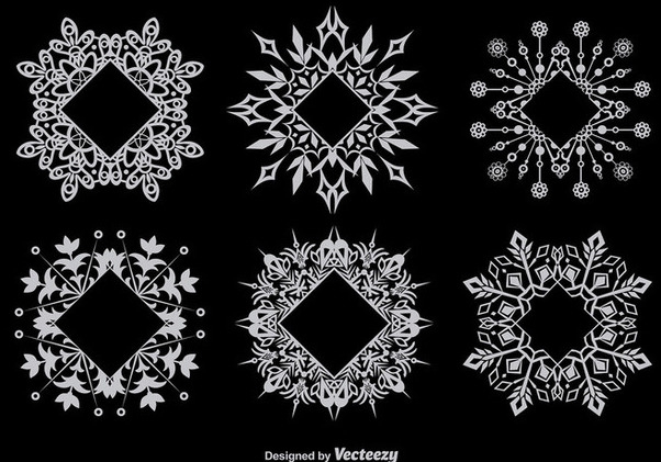 Snowflake Decorative Frame Set - vector gratuit(e) #342019