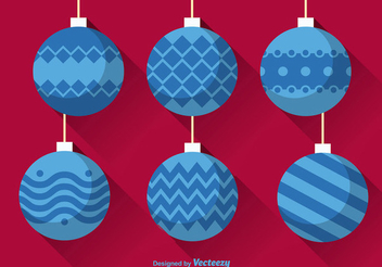 Decorative Flat Christmas Ball Pack - Free vector #342409