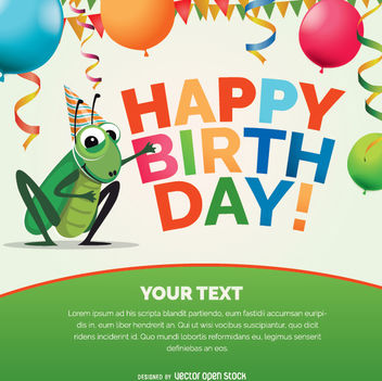 Happy birthday cricket bug card - vector #342429 gratis