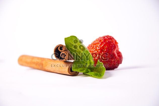 Fresh strawberry with mint and cinnamon on white background - Free image #342519
