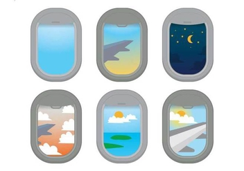 Plane Window Vector - Free vector #343099
