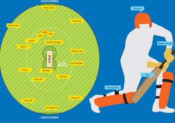 Cricket Field And Equipment - Kostenloses vector #343229