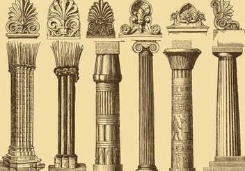 Old Style Drawing Columns - vector gratuit #343379
