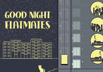 Free City Night Illustration with Sleeping People Icons - Free vector #343399