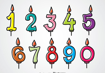Birthday Number Candles - vector gratuit #344319