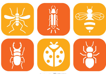 Insect White Icons - vector #344329 gratis