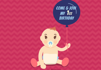 Free 1st Birthday Vector Invitation - vector #344479 gratis