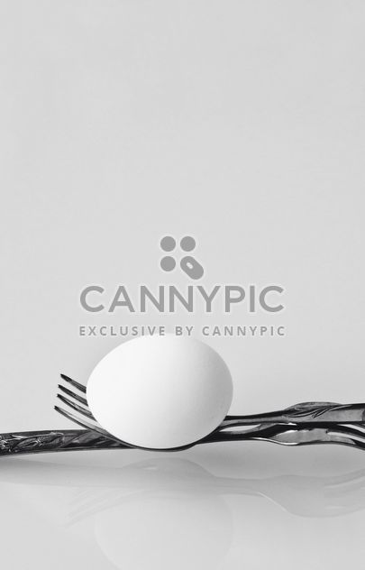 Chicken egg on forks on white background - Free image #344599