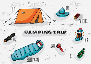 Free Hand Drawn Camping Vector Background - vector #345129 gratis
