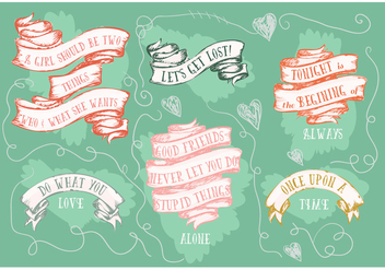 Free Motivational Hand Drawn Ribbons Collection Background - Free vector #345239