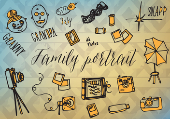 Free Famlity Portrait Vector Background with Hand Drawn Elements - Free vector #345249