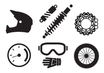 Vector Set of Motorcycle Elements - vector gratuit #345439