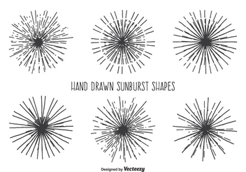 Vintage Sunburst Shape Set - Free vector #345709