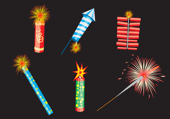 Various Fire Crackers Vector - Free vector #346339