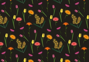 Floral Mimosa Vector Pattern - Kostenloses vector #346389