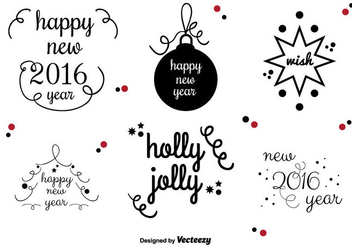 New Year's vector labels - vector gratuit #346469