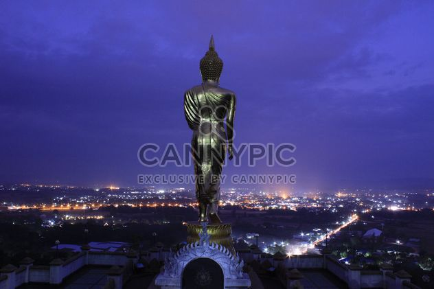 Buddha statue and aerial view on night city, Thailand - Free image #346549