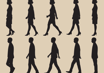Walk Cycle Silhouette Vectors - vector gratuit #346679
