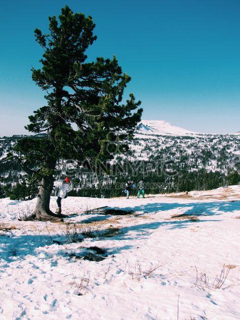 Menschen im Winter Berge unter wolkenlosem Himmel - Kostenloses image #346949