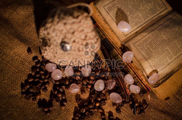 Old books, runes and coffee beans - image #346969 gratis