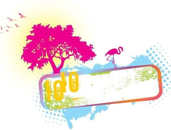 Tree Landscape Colorful Banner Grunge - vector gratuit(e) #347149