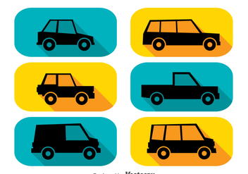 Cars Long Shadow Icons - Free vector #347349