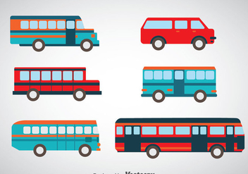 Minibus And Bus Set Vectors - Kostenloses vector #347419