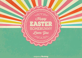 Retro Sunburst Style Easter Illustration - Kostenloses vector #347489