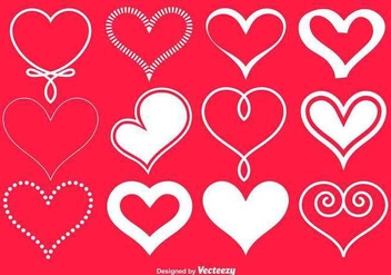 Vector White Hearts Collection - vector gratuit #347519
