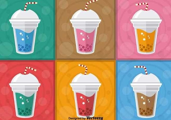 Colorful Bubble Tea Vectors - vector gratuit #347649