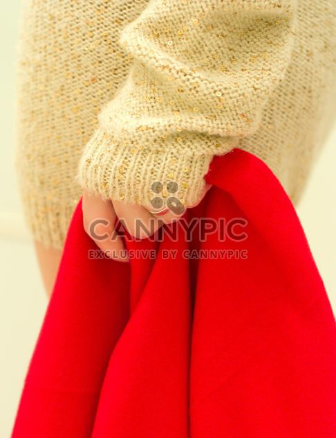 Red warm blanket in female hand - Free image #347959