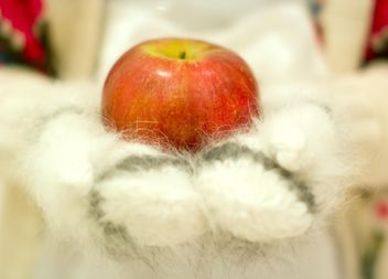 Red apple on warm mittens - image gratuit #347979