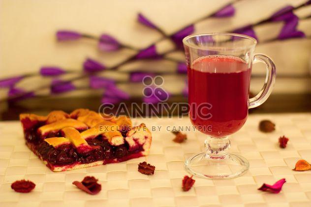 Pieace of cherry pie fruit-drink - Free image #348029