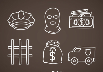 Bank Robber Element Icons - vector #348299 gratis