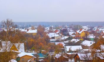 Aerial view on houses in autumn - бесплатный image #348399