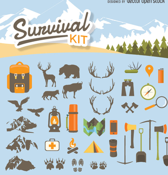 Camping survival kit - Free vector #348539