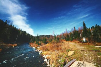 Amazing autumn landscape with river in forest - Free image #348649