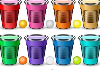 Colorful Beer Pong Elements - Kostenloses vector #349159