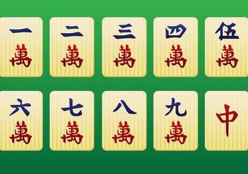 Mahjong Pieces 1st pack - Vector - Free vector #349509